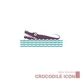 istock Vector drawn crocodile icon. 1257298090