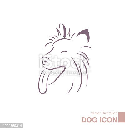 Vector drawn dog. Isolated on white background.