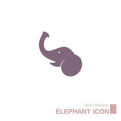 Vector drawn elephant icon.