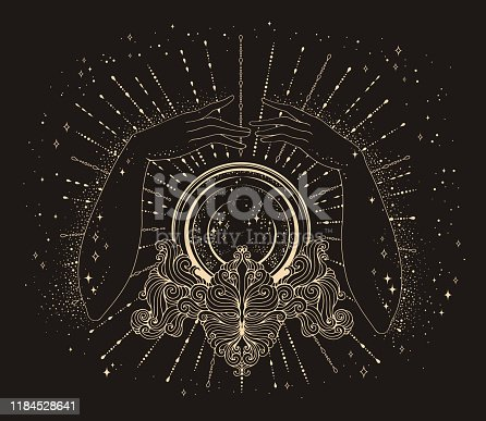 Vector drawn fortuneteller female hands conjure above a magic crystal ball on a patterned stand. The magic rays of the cosmic universe Halloween concept Mage Attributes yellow lines on a brown back Oracular cosmic nightlife