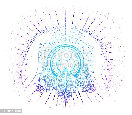 Vector drawn fortuneteller female hands conjure above a magic crystal ball on a patterned stand. The magic rays of the cosmic universe. Mage attributes in colorful light Isolated on a white background