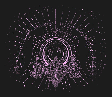 Vector drawn fortuneteller woman hands conjure above a magic crystal ball on a patterned stand. The magic stars light rays of the space universe. Halloween Mage Attributes pink line on a cosmos dark background