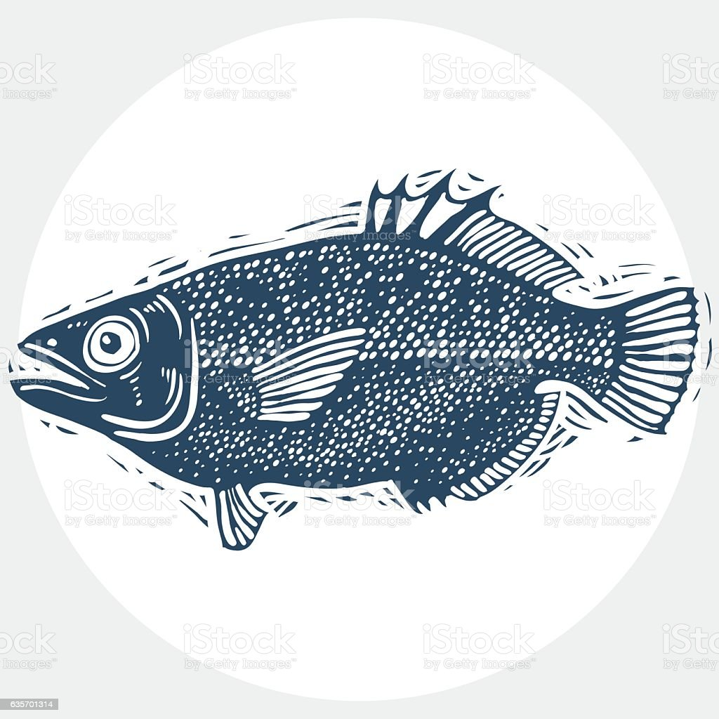 Vector drawn freshwater fish silhouette, natural graphic symbol. royalty-free vector drawn freshwater fish silhouette natural graphic symbol stock vector art & more images of animal