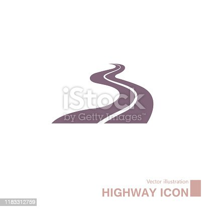 Vector drawn highway icon. Isolated on white background.