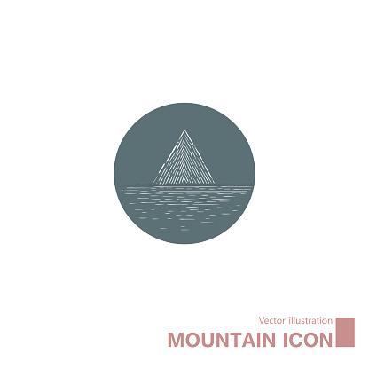 Vector drawn mountain icon.
