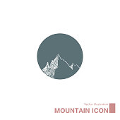 Vector drawn mountain icon. Isolated on white background.