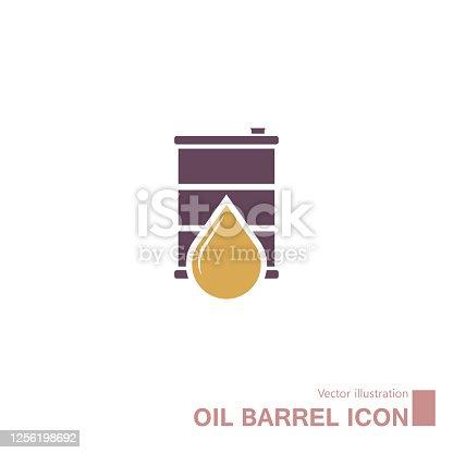 istock Vector drawn oil barrel. 1256198692