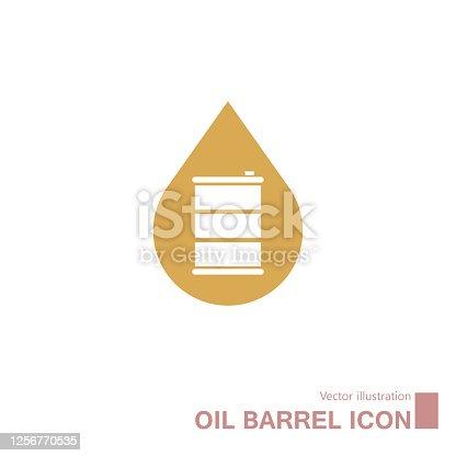 istock Vector drawn oil barrel. 1256770535