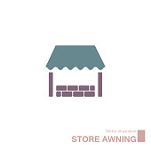 Vector drawn retail store icon. Isolated on white background.