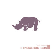 Vector drawn rhino. Isolated on white background.