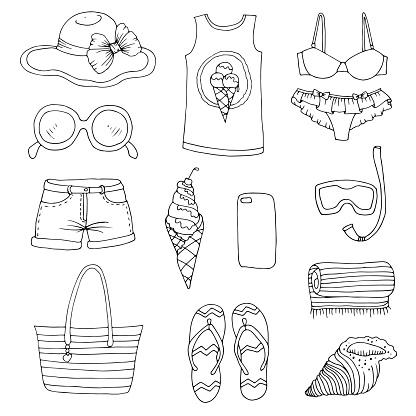 Ilustración de Vector De Conjunto De Extracción De Verano De Mujer De Moda Ropa De Playa Y Accesorios y más Vectores Libres de Derechos de Abstracto