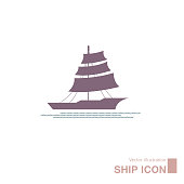 Vector drawn ship icon. Isolated on white background.