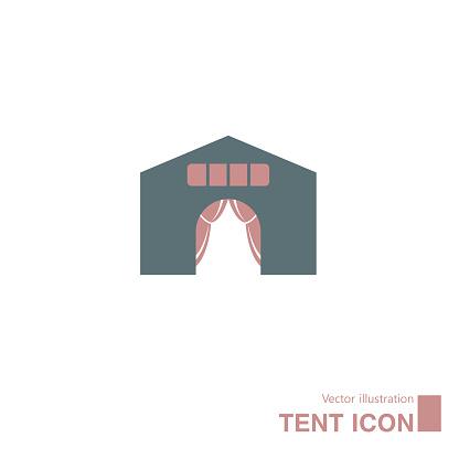 Vector drawn tent icon.