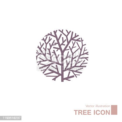 Vector drawn tree. Isolated on white background.