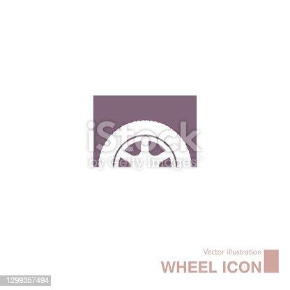 istock Vector drawn wheel icon. 1299357494