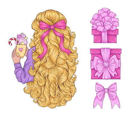 Vector drawn woman holding a mug with sweet drink. Female back with blonde curly long hair decorated with bow. Festive set of girl and gifts boxes with bow and ribbon. Christmas Design greeting card print t-shirt Isolated on a white back