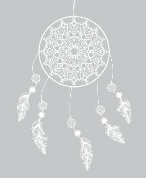 Vector dreamcatcher with feathers Vector dreamcatcher with feathers on a gray background dreamcatcher stock illustrations