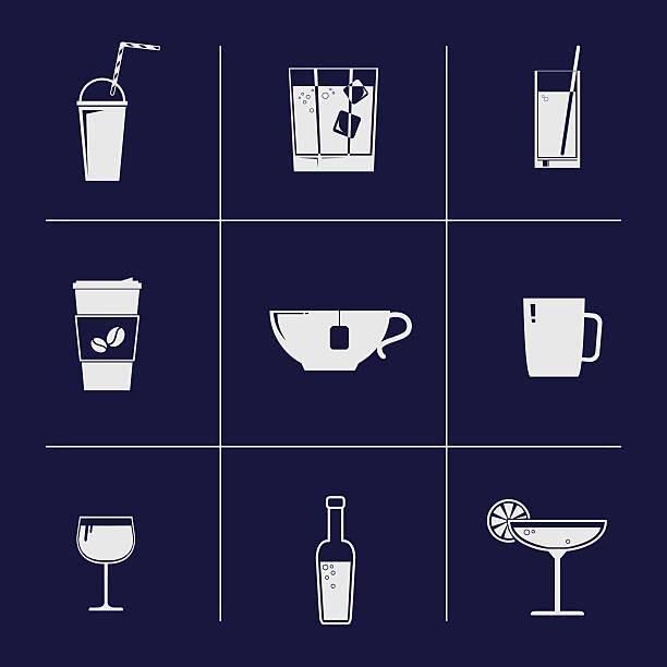 illustrazioni stock, clip art, cartoni animati e icone di tendenza di vettoriale icone di bere - fruit juice bottle isolated