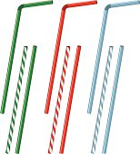 An assortment of drinking straws rendered in vector format.