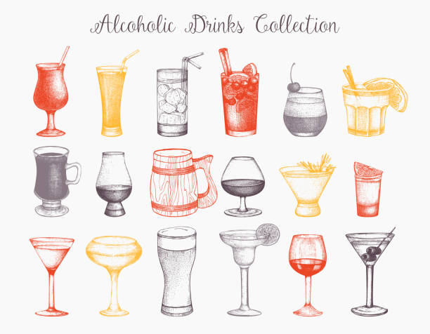 vector drinks collection - alcohol drink drawings stock illustrations