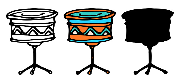 Vector drum on a tripod. A set of isolated elements of a musical instrument drums in doodle style drawn on the side on a stand with a pattern of wavy lines in orange and blue, a black outline and a silhouette for a design template