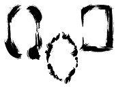Vector Dry brush frames. Hand drawn artistic frames. Grunge brush stroke frame for text, quote, advertising design. Black and white engraved ink art. Frame border ornament square.