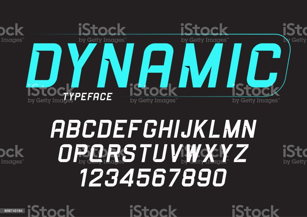 Vector dynamic bold italic font design, alphabet, typeface, typo vector art illustration