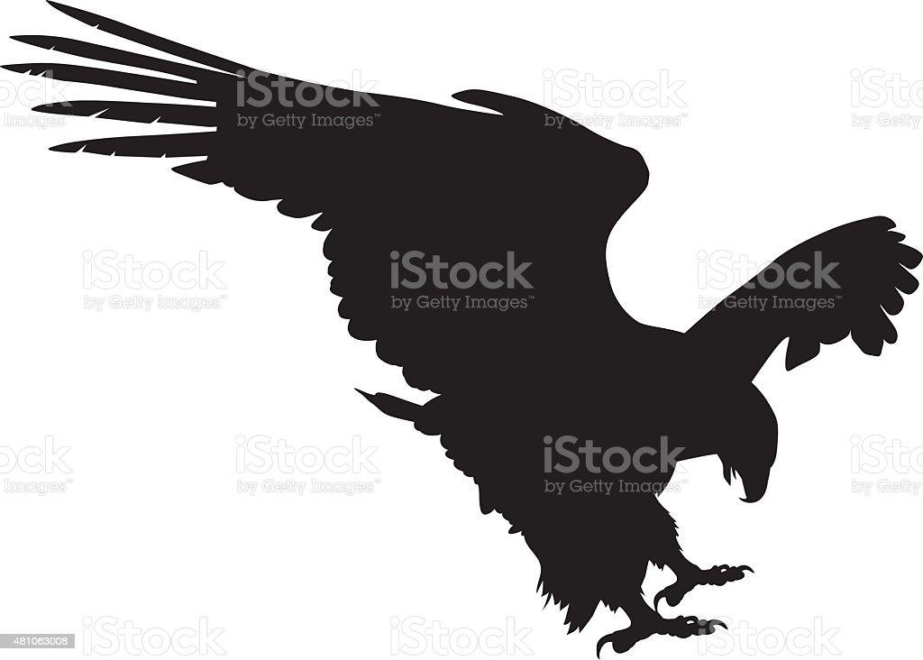 Vector eagle hunting vector art illustration
