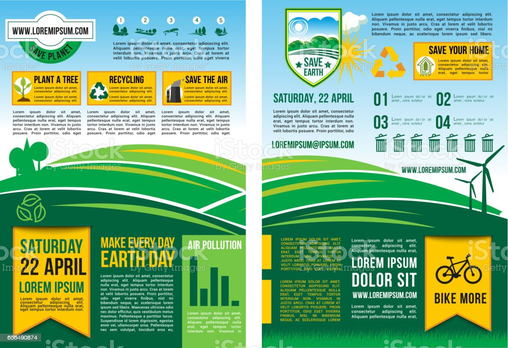 Vector Earth Day information poster or infographic ベクターアートイラスト