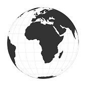 Vector Earth globe focused on Africa continent