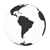 Vector Earth globe focused on South America