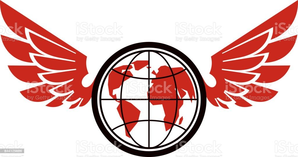 Vector Earth planet winged illustration. Power of global information. vector art illustration