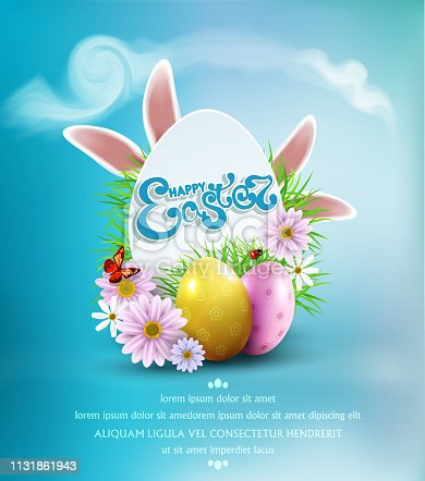 Vector Easter  background  with colored eggs, bunny ears, flowers, ladybug, and butterfly and text, in card egg-like