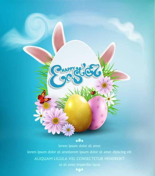 illustrazioni stock, clip art, cartoni animati e icone di tendenza di sfondo pasquale vettoriale con uova colorate, orecchie da coniglietto, fiori, coccinella e farfalla e testo, in carta simile a un uovo - pasqua