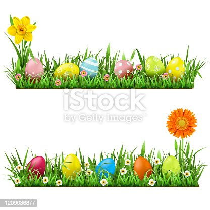 istock Vector Easter Border with Flowers 1209036877