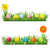 Vector Easter Border with Flowers isolated on white background