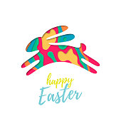 Vector Easter bunny of colored paper cut in jump. Happy Easter greeting card text with cartoon shape rabbit isolated on white background. Funny cute trend design illustration for poster, sale banner