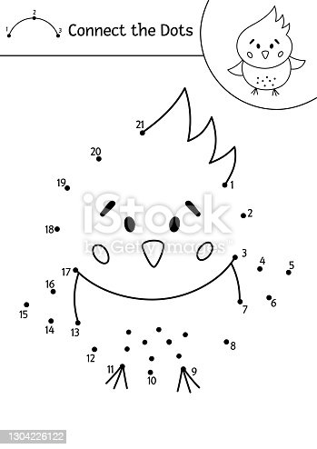 istock Vector Easter dot-to-dot and color activity with cute chicken. Spring holiday connect the dots game for children with traditional bird. Funny adorable coloring page for kids. 1304226122