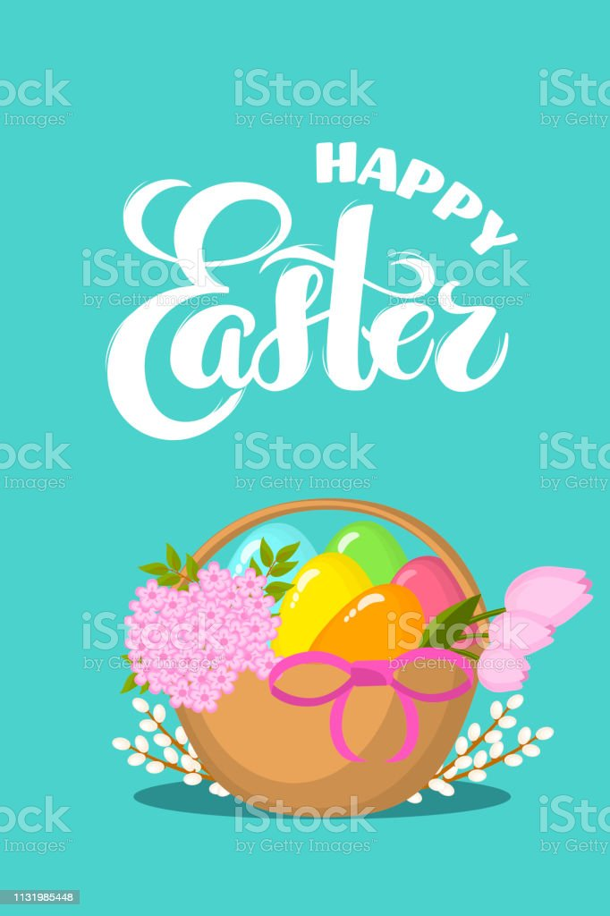 Vector Easter eggs, flowers, willow in basket with hand drawn text...