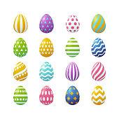 Vector illustration, big set of 3d Easter eggs. Eps 10 file.