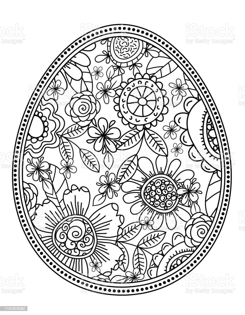Vector Easter Eggs With Floral Pattern For Coloring Book Handdrawn Decorative Elements In Vector Black And White Zentangle Vector Easter Holidays Design Stockowe Grafiki Wektorowe I Wiecej Obrazow Bazgroly Rysunek Istock