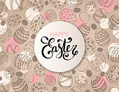 Vector Easter festive background with round paper frame and colorful confetti, Happy Easter lettering. Doodle easter eggs with stripes, dots, flowers, leaves.