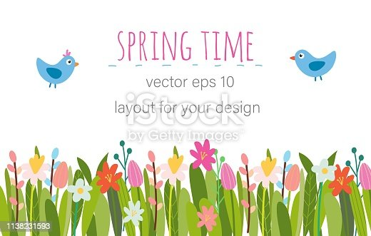Vector Easter floral background. Spring flowers, herbs, leaves, branches, eggs and chicken. Hand-drawn border perfect for greeting cards, booklets, advertisement, banners, posters