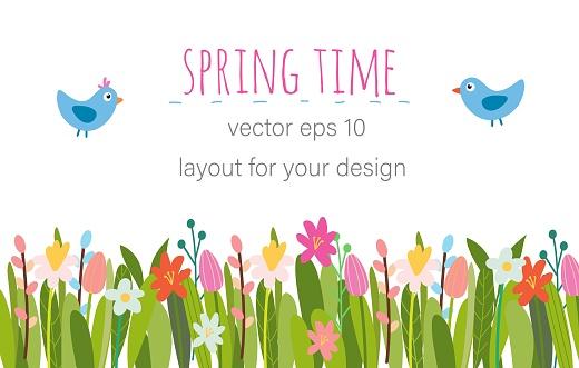 Vector Easter floral background.