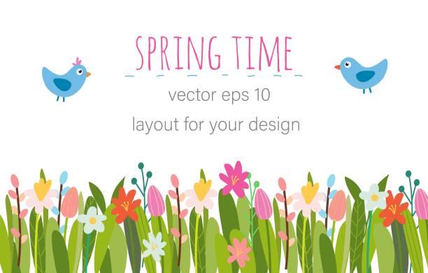 stockillustraties, clipart, cartoons en iconen met vector pasen bloemen achtergrond. - bloem stapelvoedsel