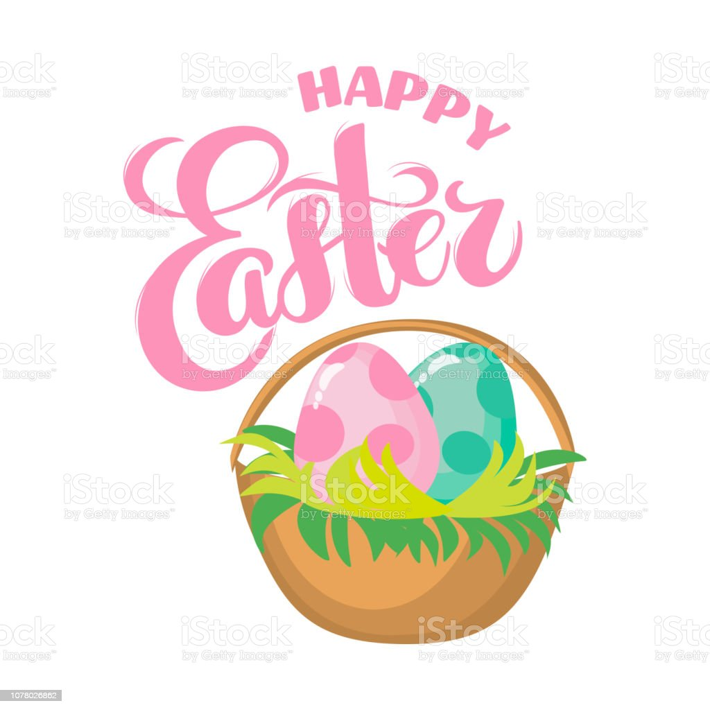 Vector Easter greeting card with hand drawn lettering Easter, flat...