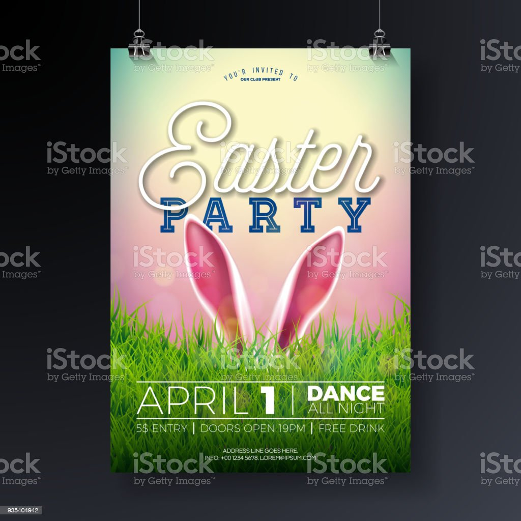 vector easter party flyer illustration with rabbit ears and
