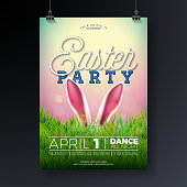 Vector Easter Party Flyer Illustration with rabbit ears and typography elements on nature green grass background. Spring holiday celebration poster design template