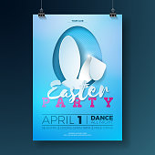 vector easter party flyer illustration with rabbit ears flowers and