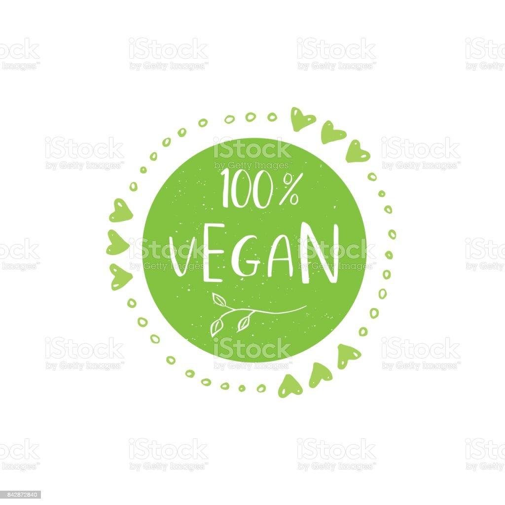 Vector eco, bio verde o signo. Vegano, insignia de la comida cruda, sano - ilustración de arte vectorial